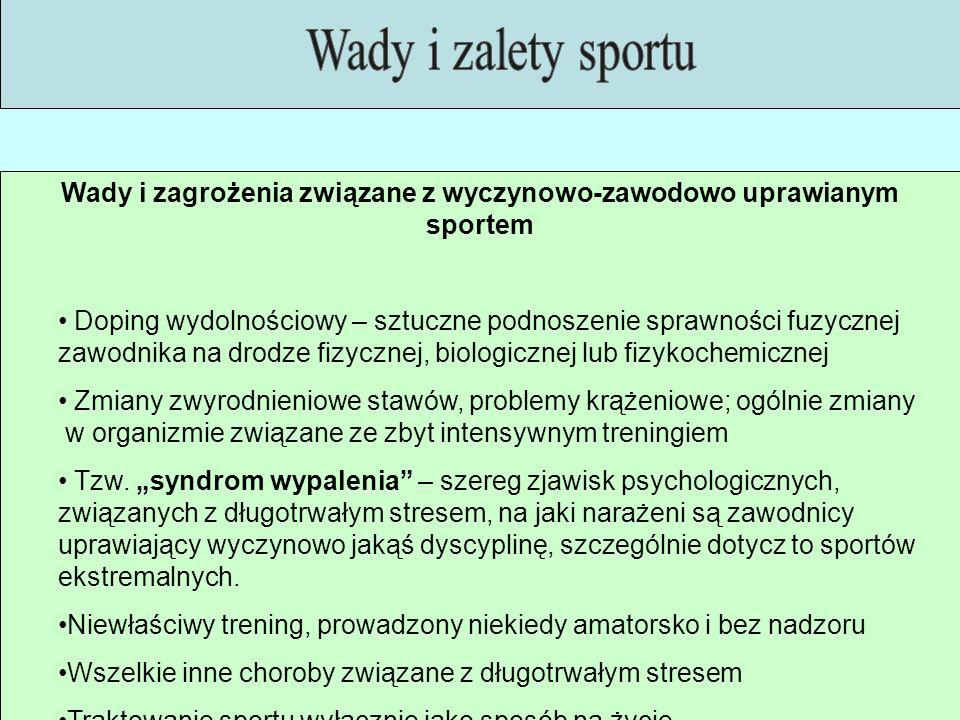 Wady i zagrożenia związane z wyczynowo-zawodowo uprawianym sportem Doping wydolnościowy – sztuczne podnoszenie sprawności fuzycznej zawodnika na drodz