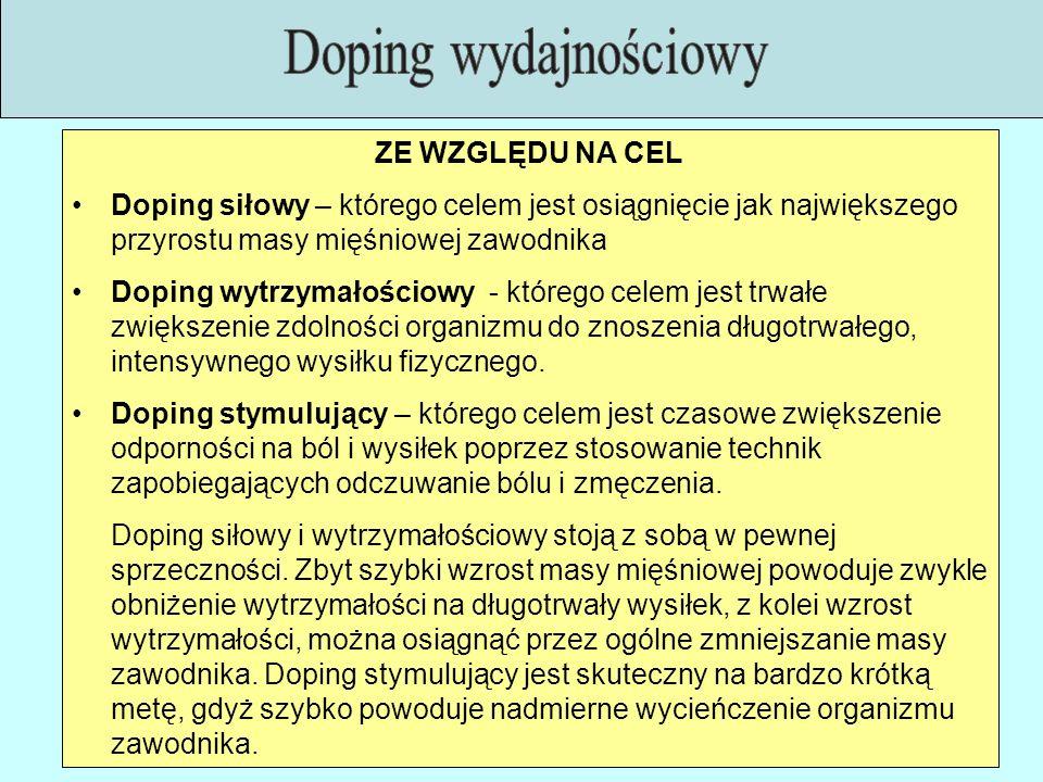 ZE WZGLĘDU NA CEL Doping siłowy – którego celem jest osiągnięcie jak największego przyrostu masy mięśniowej zawodnika Doping wytrzymałościowy - któreg