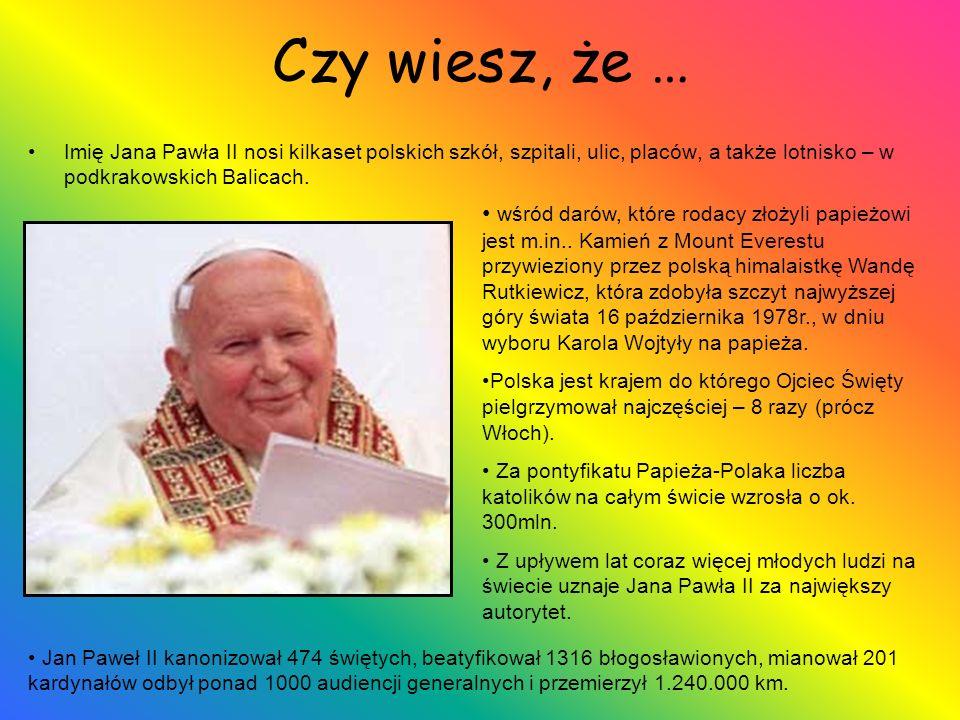 Czy wiesz, że … Imię Jana Pawła II nosi kilkaset polskich szkół, szpitali, ulic, placów, a także lotnisko – w podkrakowskich Balicach.