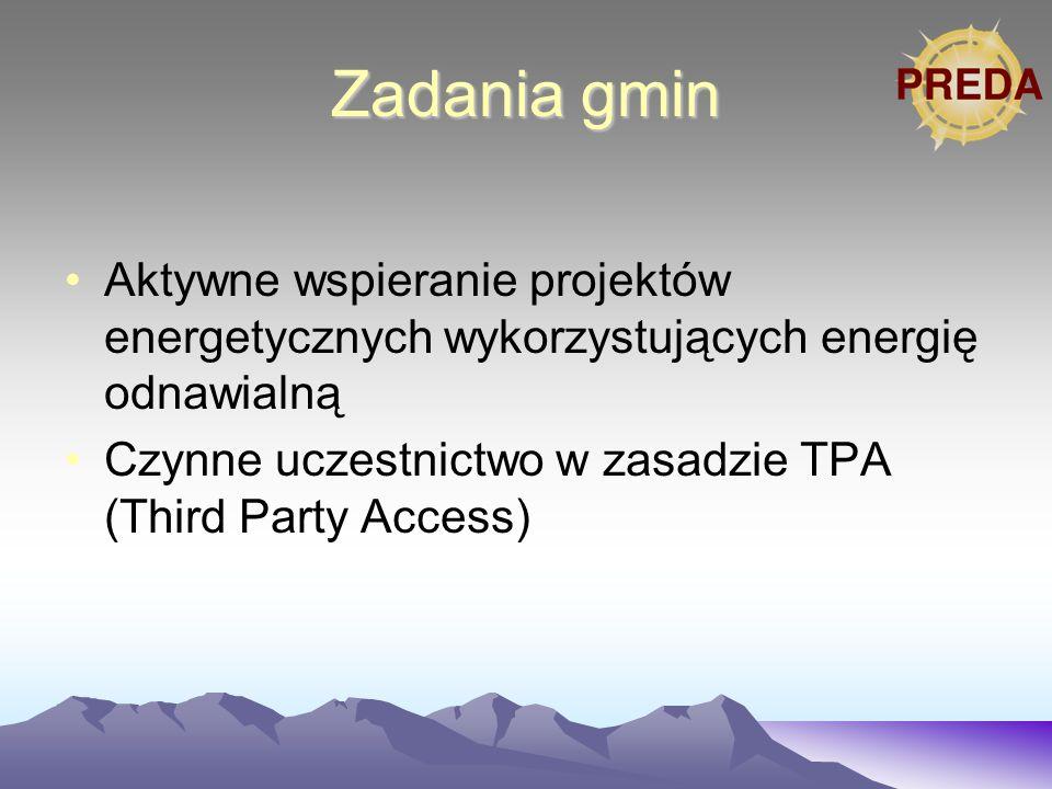 Zadania gmin Aktywne wspieranie projektów energetycznych wykorzystujących energię odnawialną Czynne uczestnictwo w zasadzie TPA (Third Party Access)