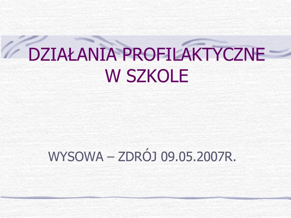 DZIAŁANIA PROFILAKTYCZNE W SZKOLE WYSOWA – ZDRÓJ 09.05.2007R.