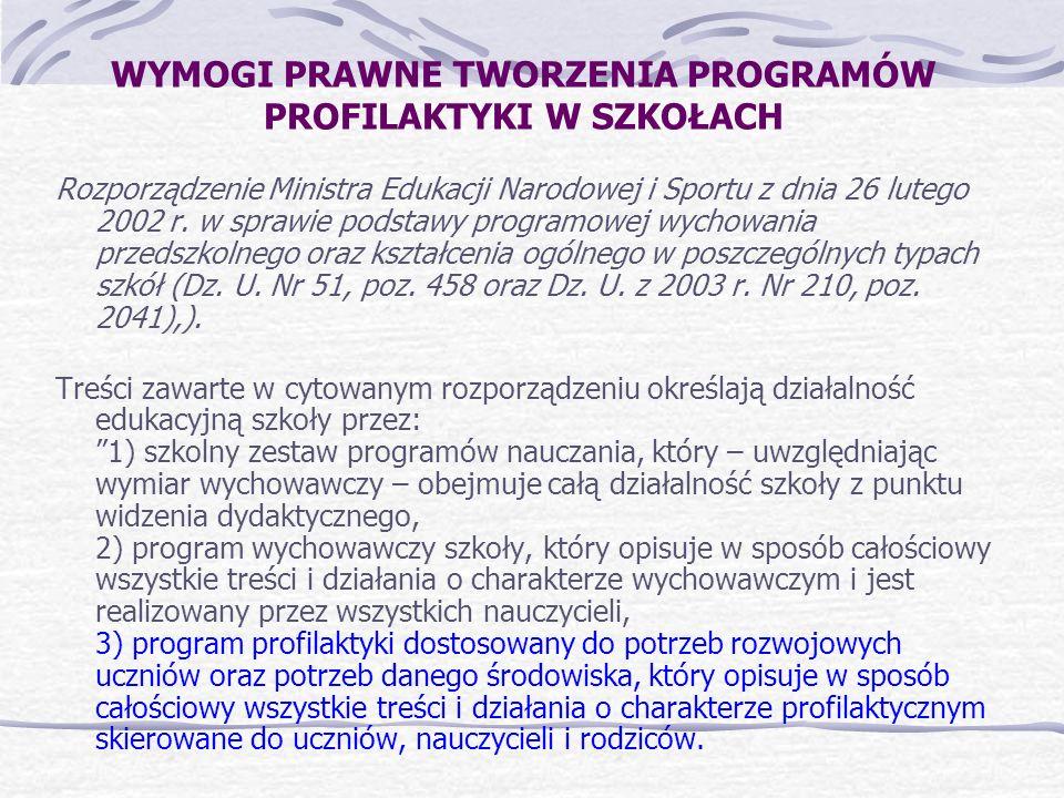 WYMOGI PRAWNE TWORZENIA PROGRAMÓW PROFILAKTYKI W SZKOŁACH Rozporządzenie Ministra Edukacji Narodowej i Sportu z dnia 26 lutego 2002 r. w sprawie podst