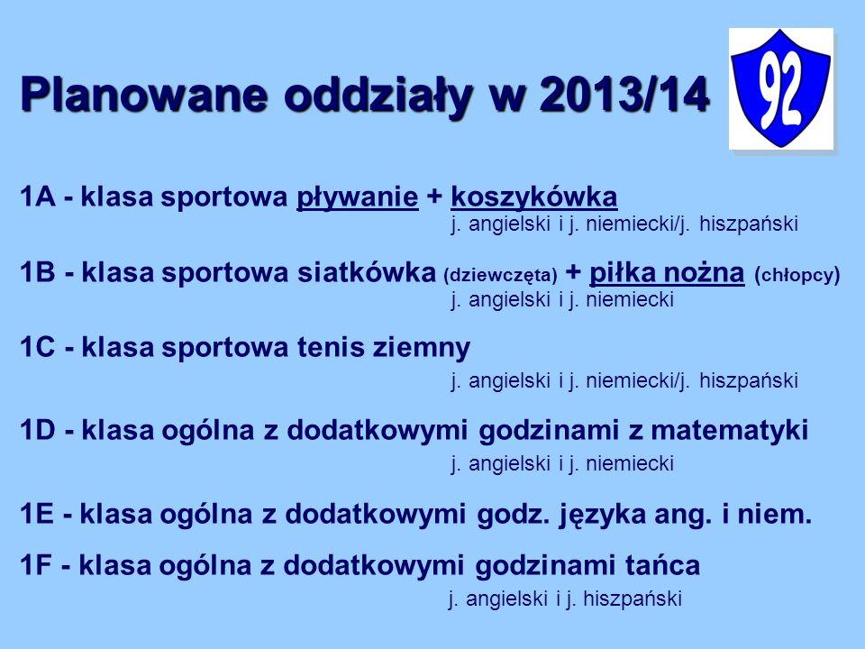 1A - klasa sportowa pływanie + koszykówka j. angielski i j. niemiecki/j. hiszpański 1B - klasa sportowa siatkówka (dziewczęta) + piłka nożna ( chłopcy