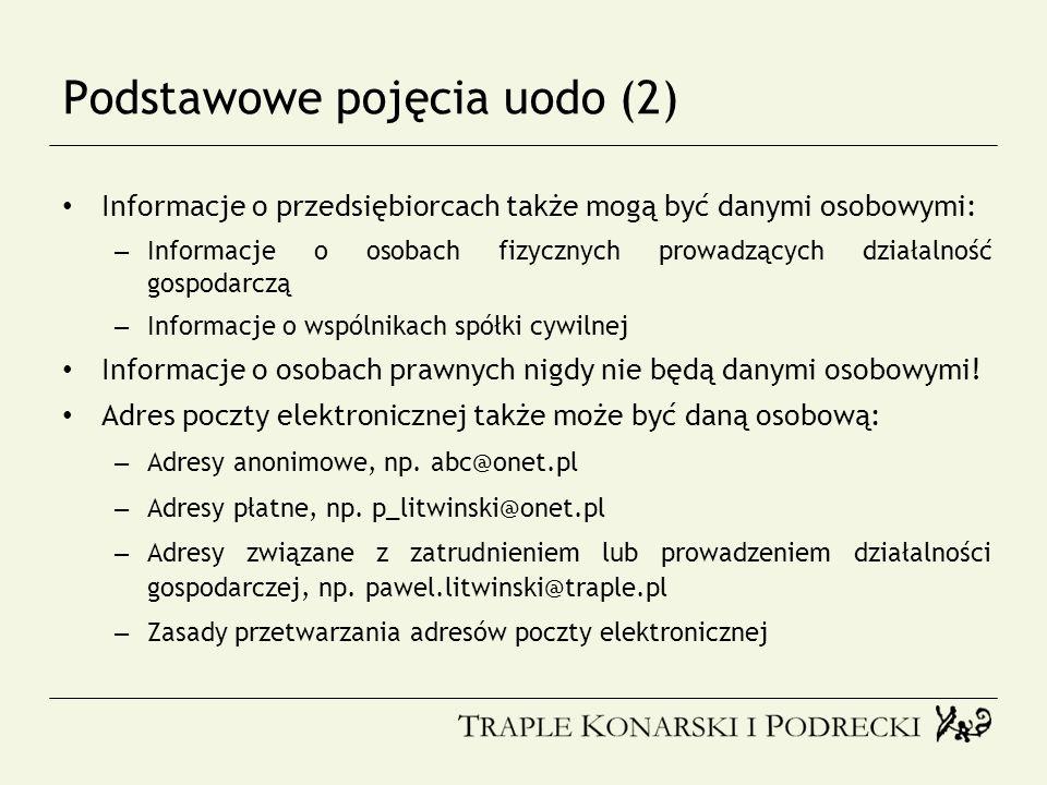 Podstawowe pojęcia uodo (2) Informacje o przedsiębiorcach także mogą być danymi osobowymi: – Informacje o osobach fizycznych prowadzących działalność