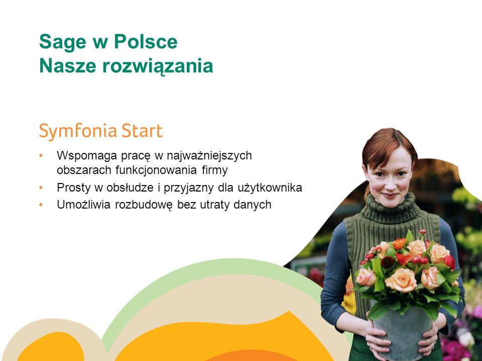 Sage w Polsce Nasze rozwiązania Wspomaga pracę w najważniejszych obszarach funkcjonowania firmy Prosty w obsłudze i przyjazny dla użytkownika Umożliwi