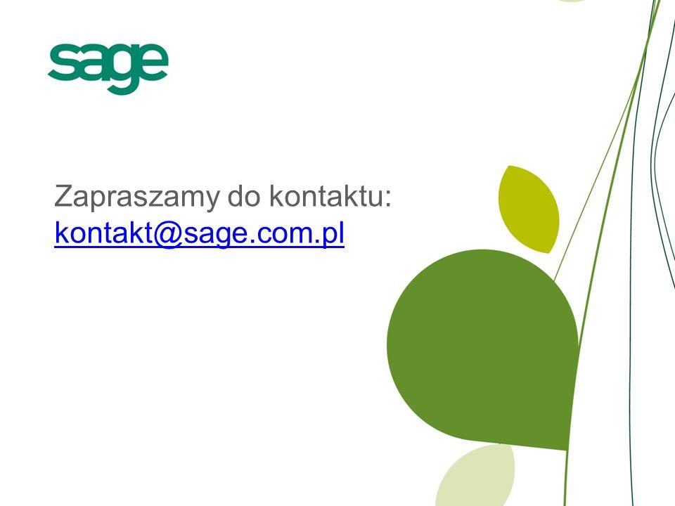 Zapraszamy do kontaktu: kontakt@sage.com.pl kontakt@sage.com.pl