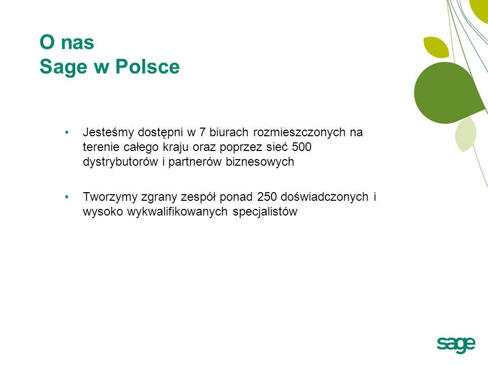 O nas Sage w Polsce Jesteśmy dostępni w 7 biurach rozmieszczonych na terenie całego kraju oraz poprzez sieć 500 dystrybutorów i partnerów biznesowych