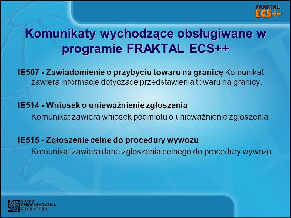 Komunikaty wychodzące obsługiwane w programie FRAKTAL ECS++ IE507 - Zawiadomienie o przybyciu towaru na granicę Komunikat zawiera informacje dotyczące przedstawienia towaru na granicy.