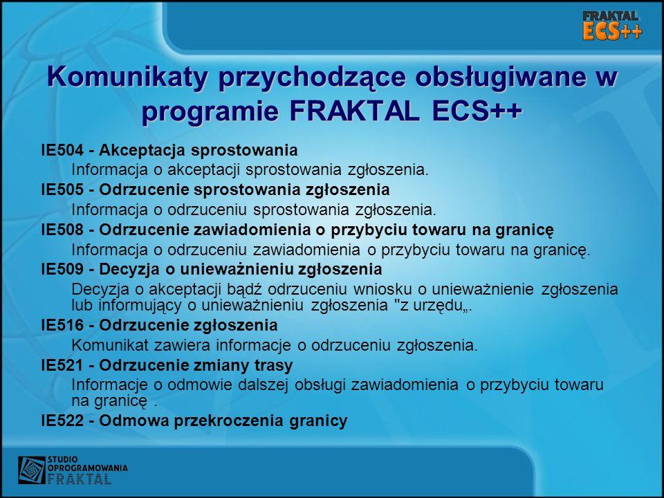 Komunikaty przychodzące obsługiwane w programie FRAKTAL ECS++ IE504 - Akceptacja sprostowania Informacja o akceptacji sprostowania zgłoszenia. IE505 -