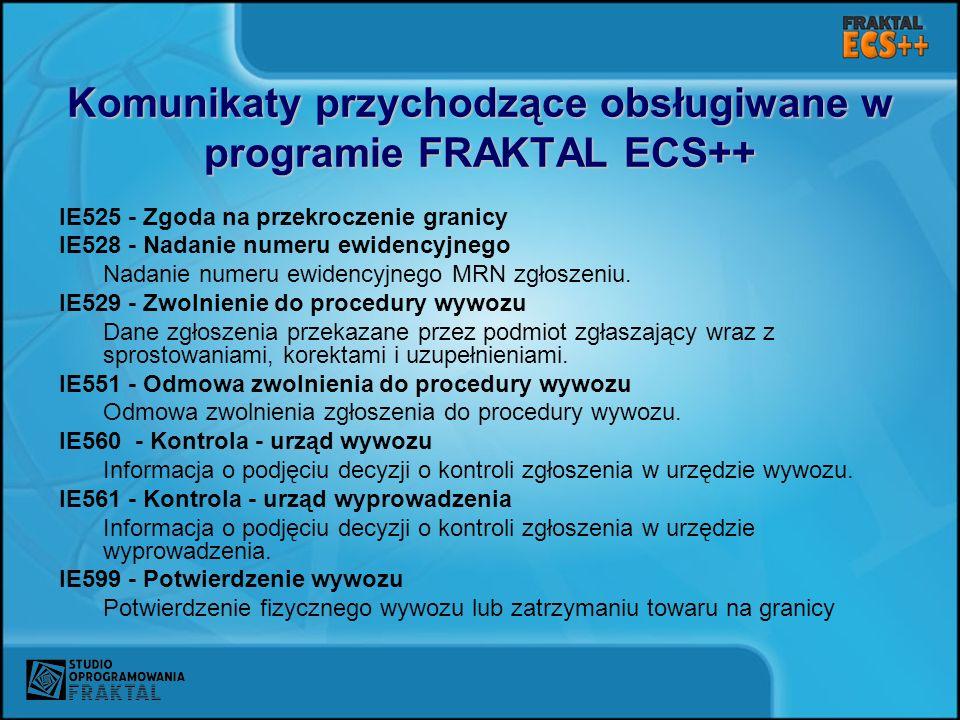 Komunikaty przychodzące obsługiwane w programie FRAKTAL ECS++ IE525 - Zgoda na przekroczenie granicy IE528 - Nadanie numeru ewidencyjnego Nadanie nume