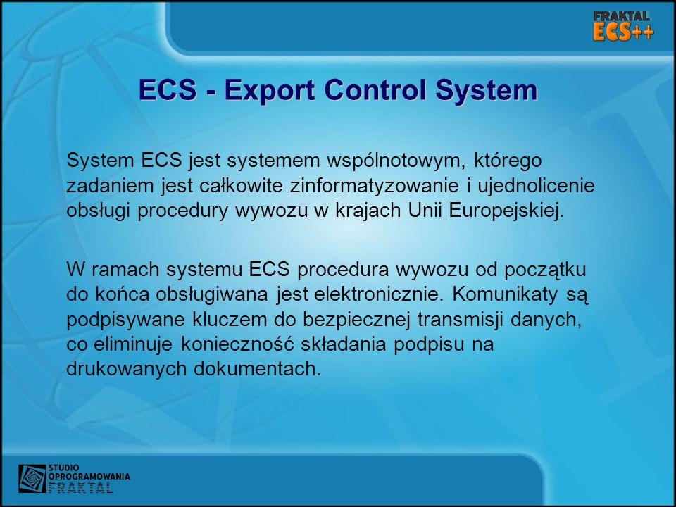 ECS - Export Control System System ECS jest systemem wspólnotowym, którego zadaniem jest całkowite zinformatyzowanie i ujednolicenie obsługi procedury wywozu w krajach Unii Europejskiej.