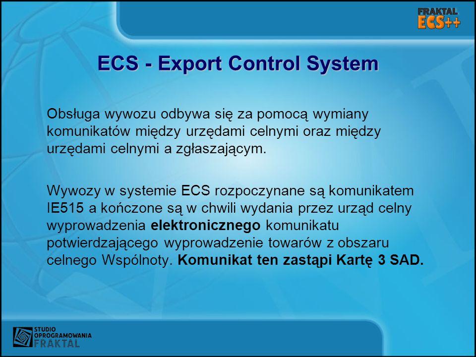ECS - Export Control System Obsługa wywozu odbywa się za pomocą wymiany komunikatów między urzędami celnymi oraz między urzędami celnymi a zgłaszający