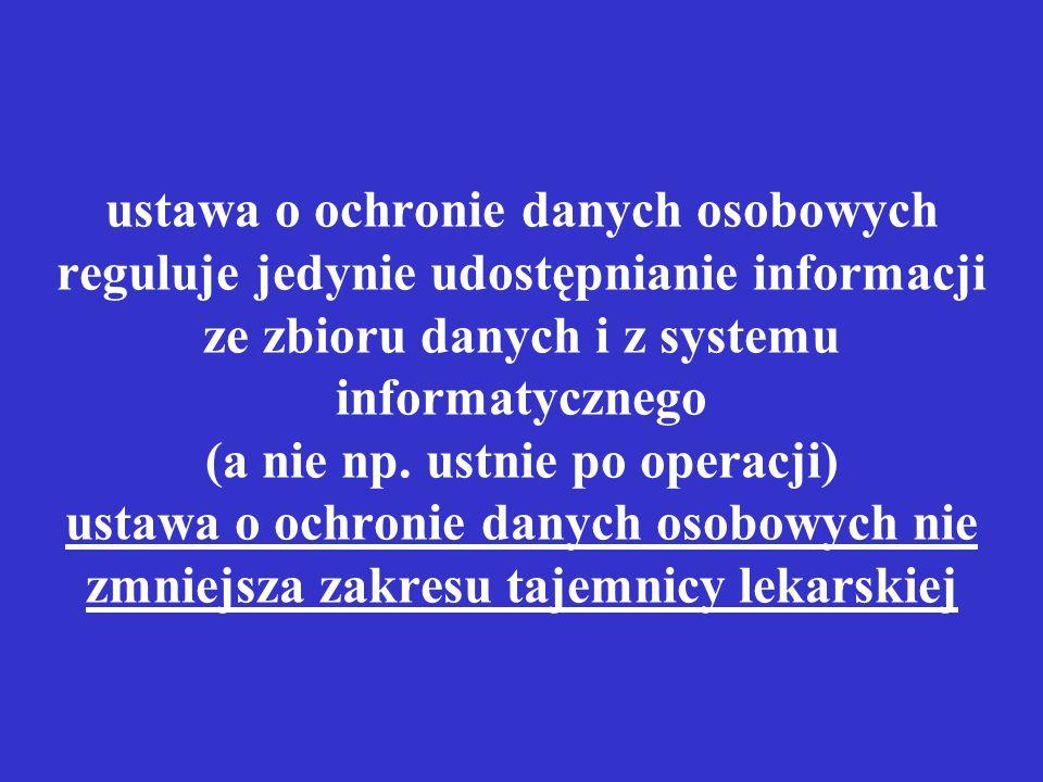 ustawa o ochronie danych osobowych reguluje jedynie udostępnianie informacji ze zbioru danych i z systemu informatycznego (a nie np. ustnie po operacj