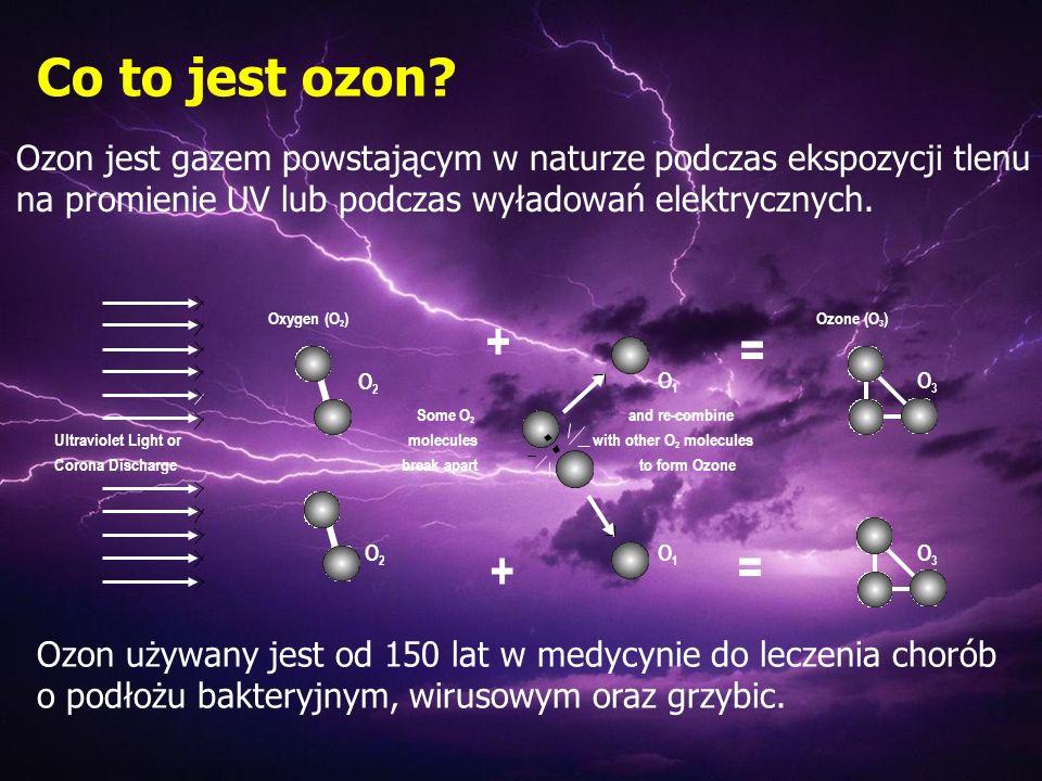 Co to jest ozon? Ozon jest gazem powstającym w naturze podczas ekspozycji tlenu na promienie UV lub podczas wyładowań elektrycznych. + O1O1 = O3O3 Oxy