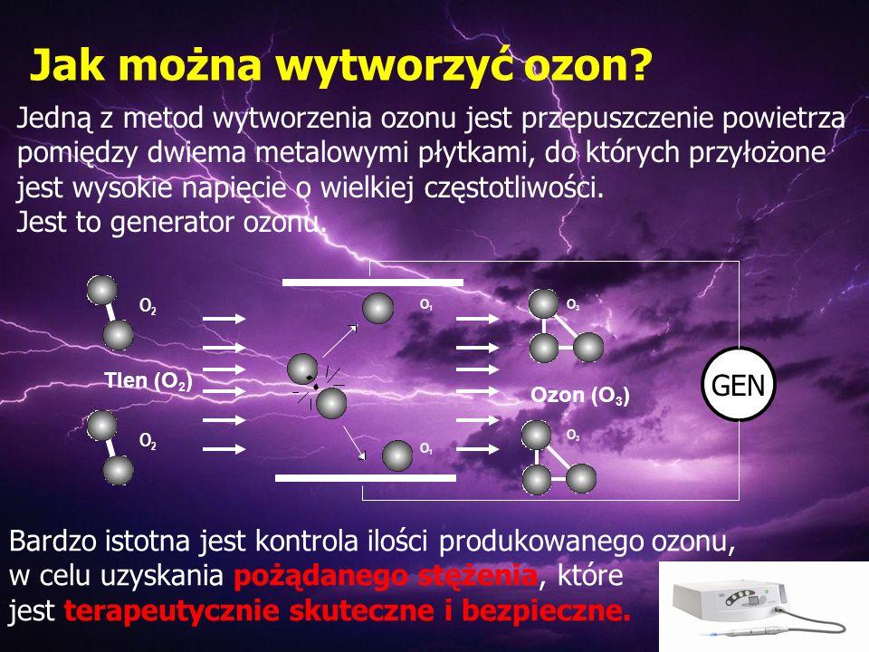 Jak można wytworzyć ozon? Jedną z metod wytworzenia ozonu jest przepuszczenie powietrza pomiędzy dwiema metalowymi płytkami, do których przyłożone jes