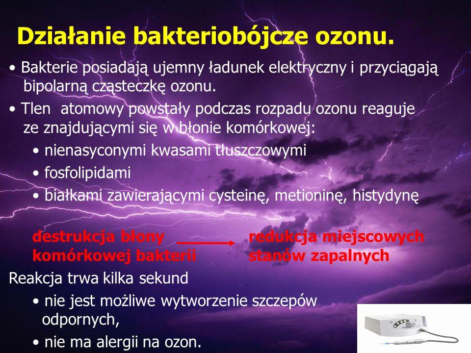 Bakterie posiadają ujemny ładunek elektryczny i przyciągają bipolarną cząsteczkę ozonu. Tlen atomowy powstały podczas rozpadu ozonu reaguje ze znajduj
