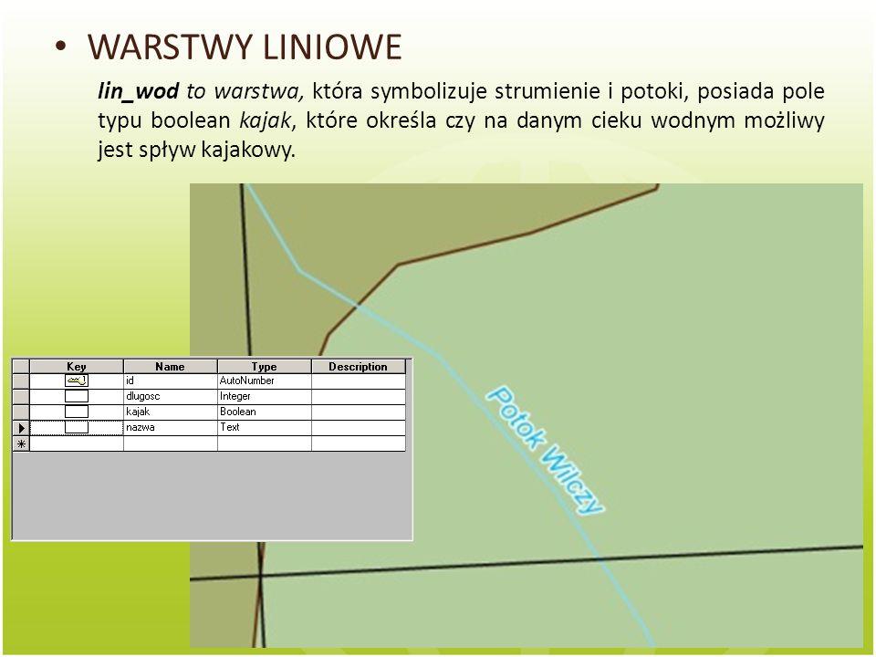 WARSTWY LINIOWE lin_wod to warstwa, która symbolizuje strumienie i potoki, posiada pole typu boolean kajak, które określa czy na danym cieku wodnym mo