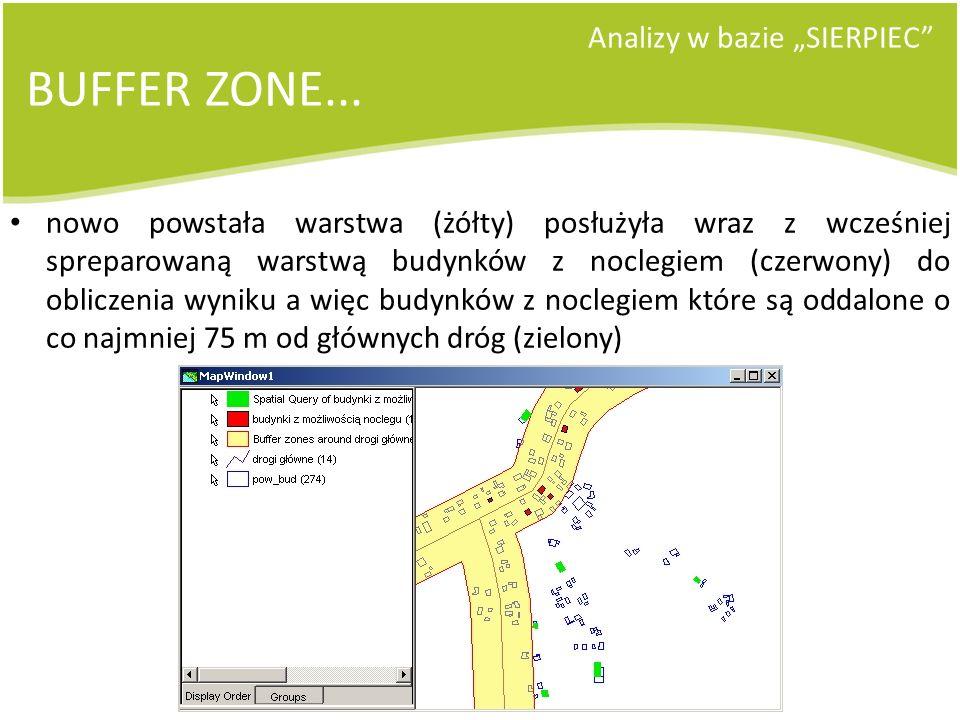 Analizy w bazie SIERPIEC BUFFER ZONE... nowo powstała warstwa (żółty) posłużyła wraz z wcześniej spreparowaną warstwą budynków z noclegiem (czerwony)