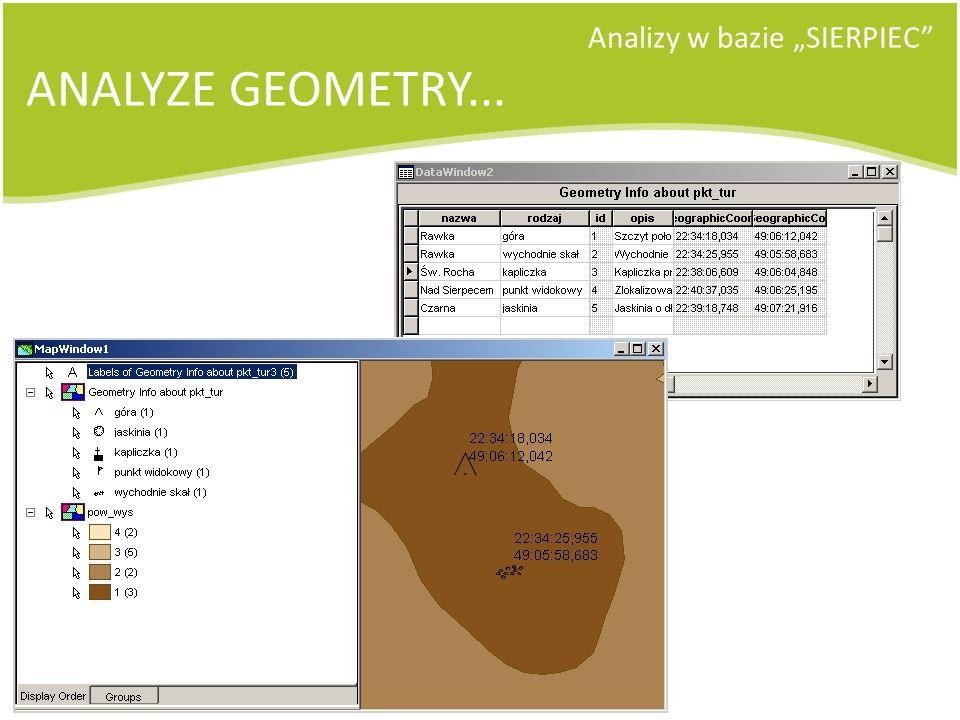 Analizy w bazie SIERPIEC ANALYZE GEOMETRY...