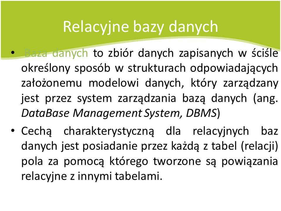 Relacyjne bazy danych Baza danych to zbiór danych zapisanych w ściśle określony sposób w strukturach odpowiadających założonemu modelowi danych, który