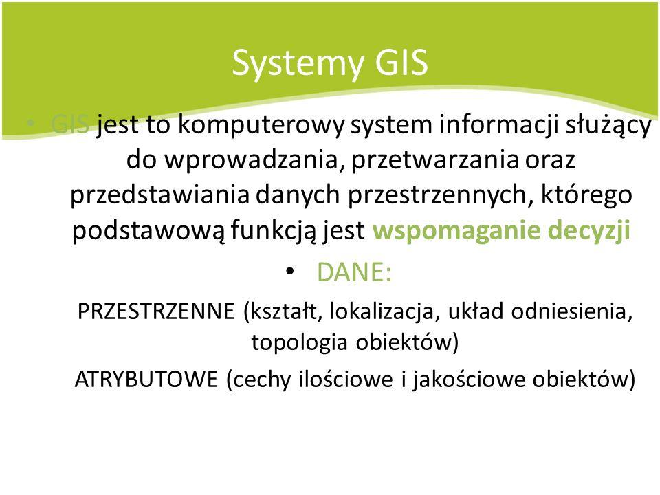 Systemy GIS GIS jest to komputerowy system informacji służący do wprowadzania, przetwarzania oraz przedstawiania danych przestrzennych, którego podsta