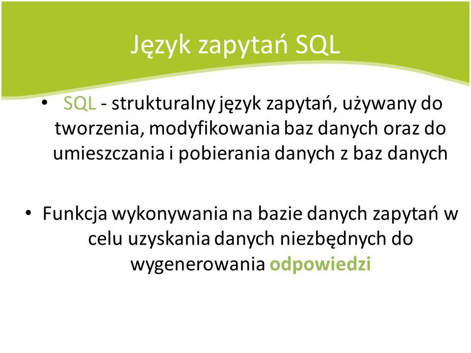 Język zapytań SQL SQL - strukturalny język zapytań, używany do tworzenia, modyfikowania baz danych oraz do umieszczania i pobierania danych z baz dany