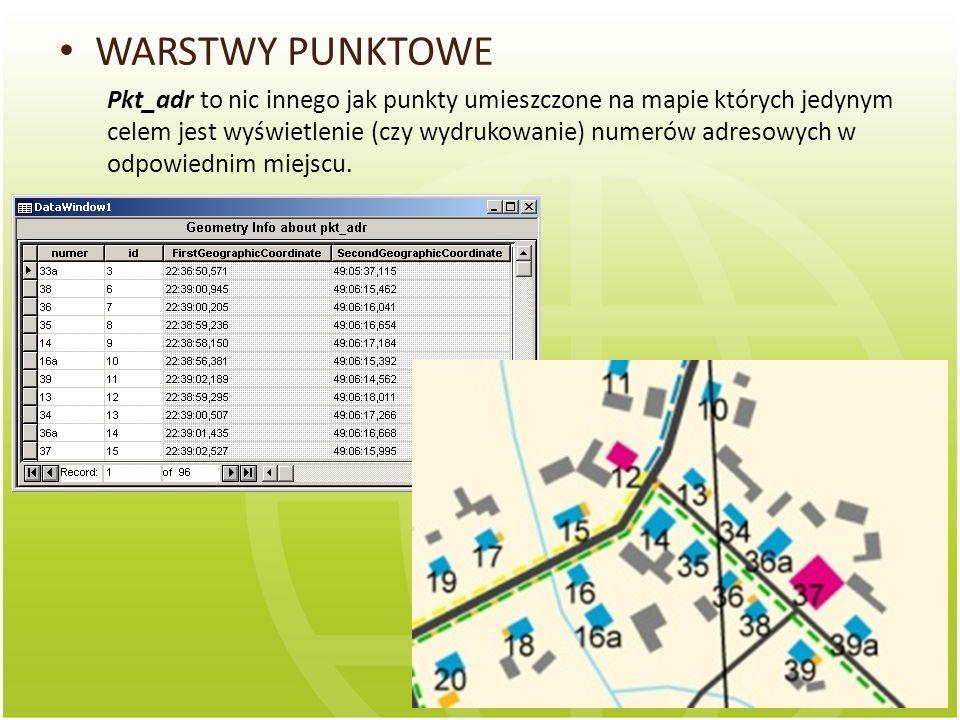 WARSTWY PUNKTOWE Pkt_adr to nic innego jak punkty umieszczone na mapie których jedynym celem jest wyświetlenie (czy wydrukowanie) numerów adresowych w