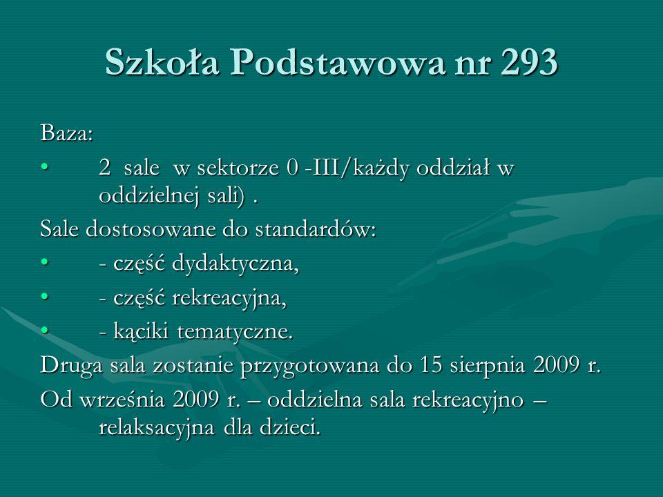 Szkoła Podstawowa nr 293 Baza: 2 sale w sektorze 0 -III/każdy oddział w oddzielnej sali).2 sale w sektorze 0 -III/każdy oddział w oddzielnej sali).