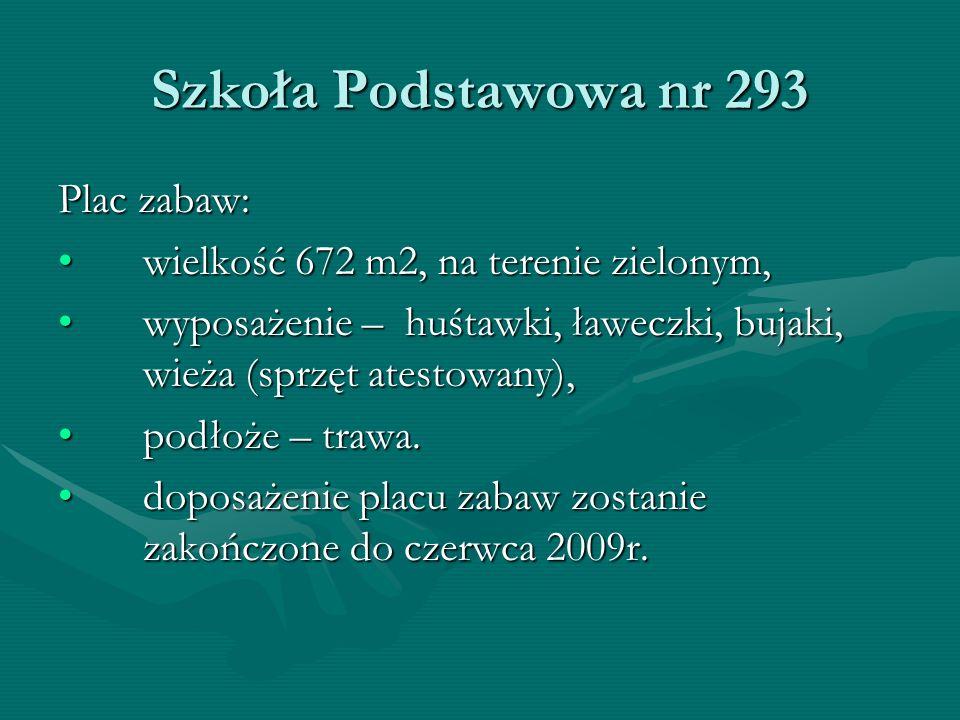 Szkoła Podstawowa nr 293 Plac zabaw: wielkość 672 m2, na terenie zielonym,wielkość 672 m2, na terenie zielonym, wyposażenie – huśtawki, ławeczki, bujaki, wieża (sprzęt atestowany),wyposażenie – huśtawki, ławeczki, bujaki, wieża (sprzęt atestowany), podłoże – trawa.podłoże – trawa.