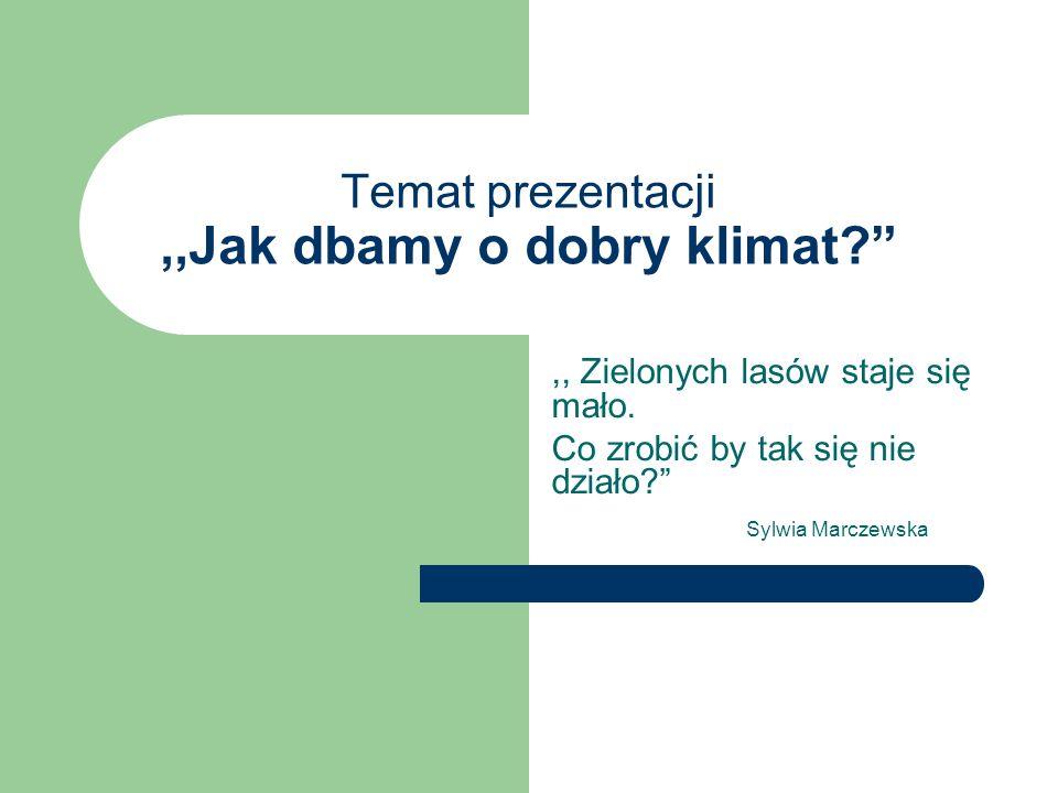 ,,Z lasów śmieci pozbierajmy i o dobry klimat dbajmy Sylwia Marczewska To hasło będzie nam towarzyszyło wiosną 2009 r.