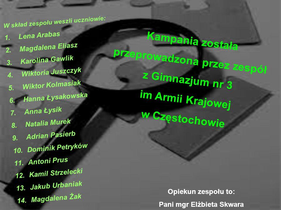 Kampania została przeprowadzona przez zespół z Gimnazjum nr 3 im Armii Krajowej w Częstochowie W skład zespołu weszli uczniowie: 1.Lena Arabas 2.Magda