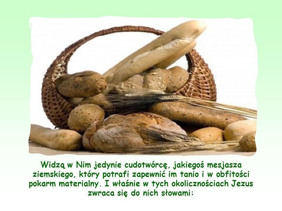 Widzą w Nim jedynie cudotwórcę, jakiegoś mesjasza ziemskiego, który potrafi zapewnić im tanio i w obfitości pokarm materialny.