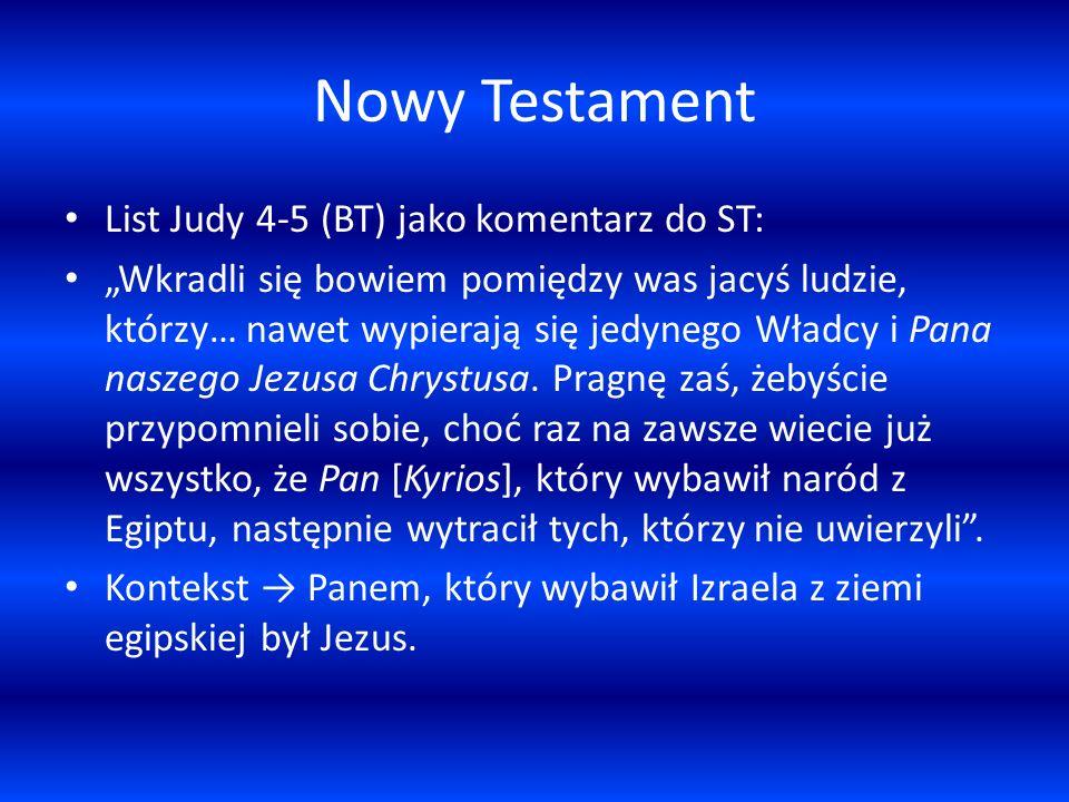 Nowy Testament List Judy 4-5 (BT) jako komentarz do ST: Wkradli się bowiem pomiędzy was jacyś ludzie, którzy… nawet wypierają się jedynego Władcy i Pa