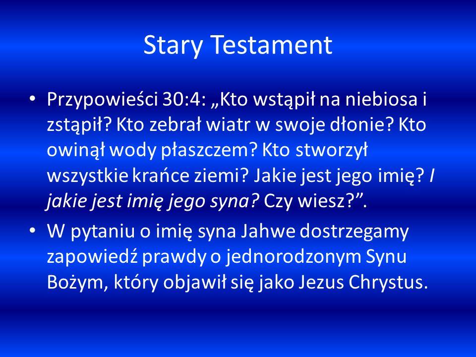 Stary Testament Przypowieści 30:4: Kto wstąpił na niebiosa i zstąpił? Kto zebrał wiatr w swoje dłonie? Kto owinął wody płaszczem? Kto stworzył wszystk