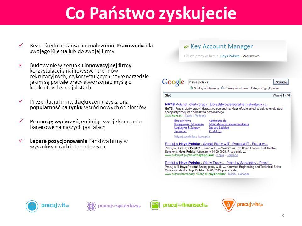 Warianty rozpoczęcia współpracy: Samodzielne zamieszczanie przez Państwa ogłoszeń o pracę na wybranych serwisach: - www.pracujwit.plwww.pracujwit.pl - www.pracujwsprzedazy.plwww.pracujwsprzedazy.pl - www.pracujwfinansach.plwww.pracujwfinansach.pl - www.pracujwhr.plwww.pracujwhr.pl Dostarczenie logotypu, opisu Państwa firmy oraz adresu XML, z którego automatycznie będą pobierane ogłoszenia Przysługuje Państwu wgląd do ogłoszeń i możliwość ich modyfikacji, w formie elektronicznej.
