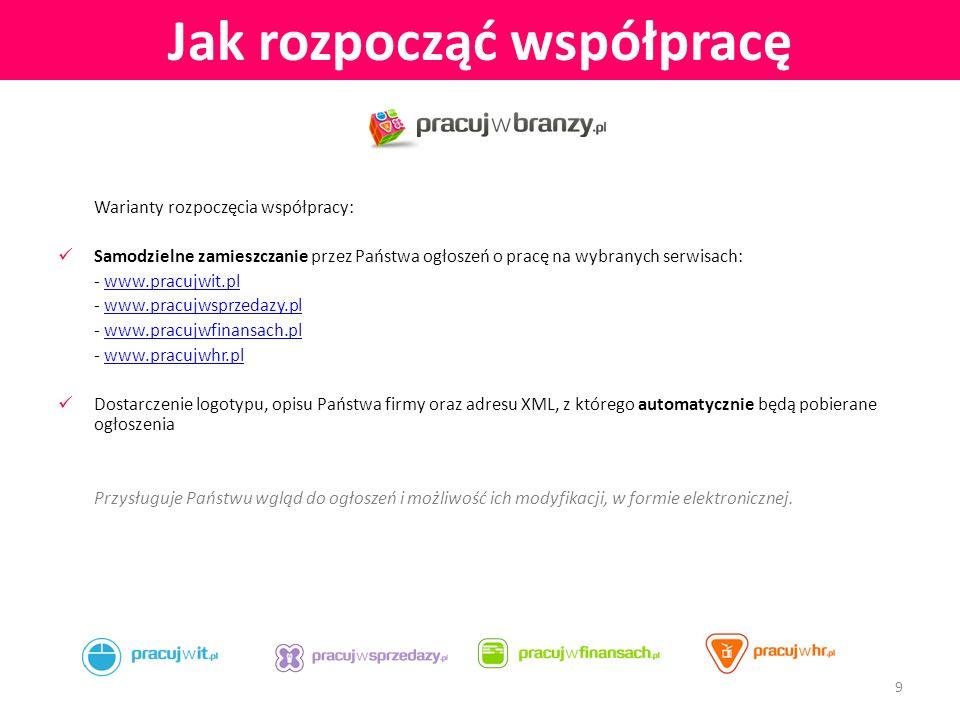 PracujwBranzy.pl www.pracujwbranzy.pl Serwisy branżowe www.pracujwit.pl www.pracujwsprzedazy.pl www.pracujwfinansach.pl 10 Kontakt z nami Dział Obsługi Klienta: E-mail: cc@pracujwbranzy.plcc@pracujwbranzy.pl Tel: +48 782 080 232 Skype: pracujwbranzy.pl Informacje: E-mail: info@pracujwbranzy.plinfo@pracujwbranzy.pl