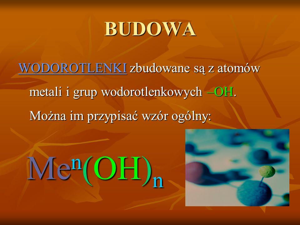 BUDOWA WODOROTLENKI zbudowane są z atomów metali i grup wodorotlenkowych –OH.