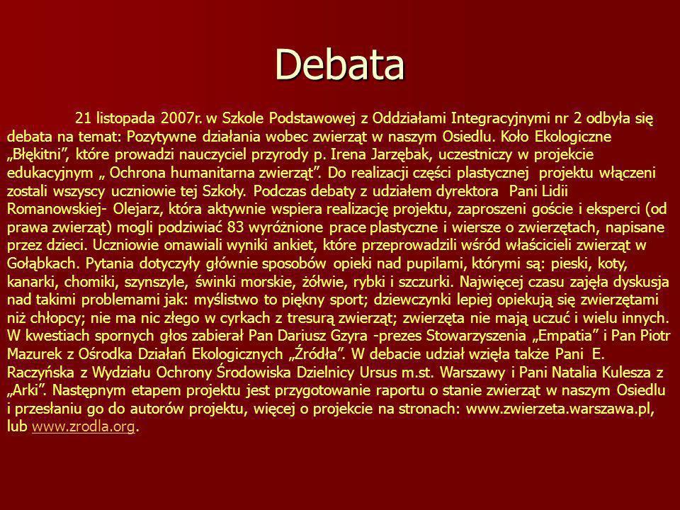 Debata 21 listopada 2007r.