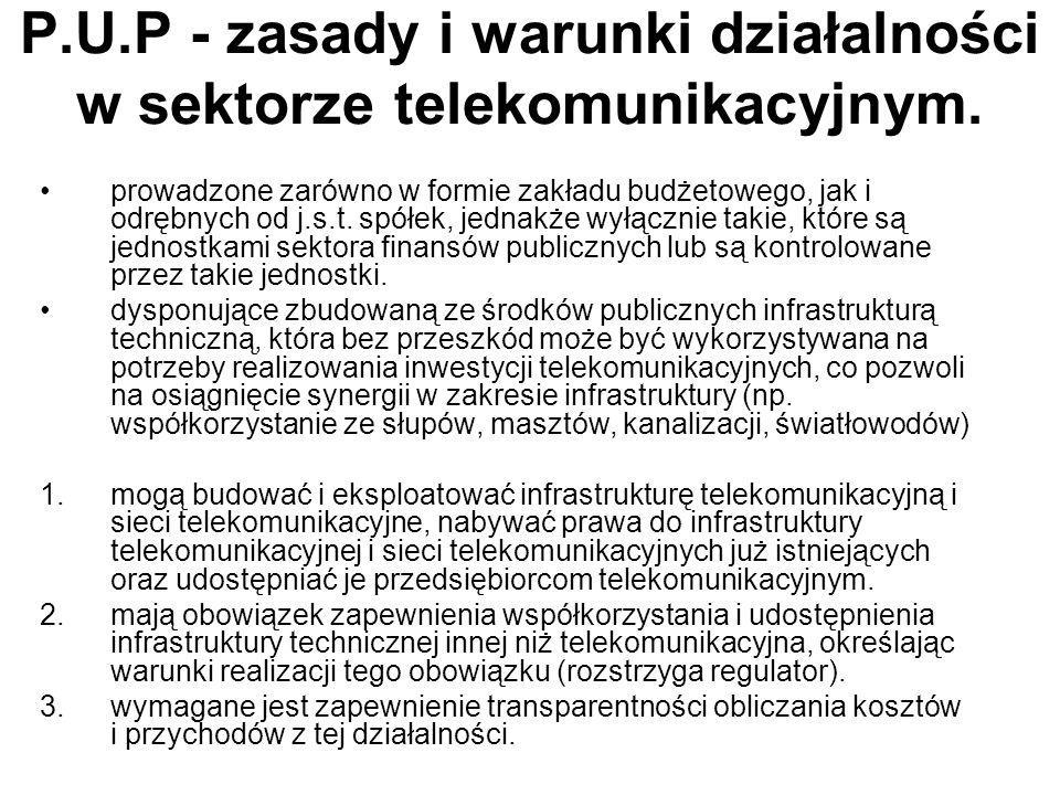 Regionalne sieci szerokopasmowe Projekt w większości korzysta z precedensowych rozwiązań przyjętych w ustawie z dnia 10 kwietnia 2003 r.