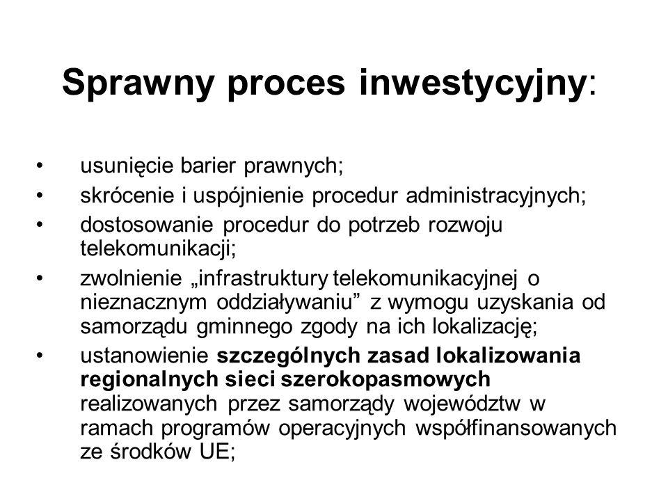 Sprawny proces inwestycyjny: usunięcie barier prawnych; skrócenie i uspójnienie procedur administracyjnych; dostosowanie procedur do potrzeb rozwoju telekomunikacji; zwolnienie infrastruktury telekomunikacyjnej o nieznacznym oddziaływaniu z wymogu uzyskania od samorządu gminnego zgody na ich lokalizację; ustanowienie szczególnych zasad lokalizowania regionalnych sieci szerokopasmowych realizowanych przez samorządy województw w ramach programów operacyjnych współfinansowanych ze środków UE;