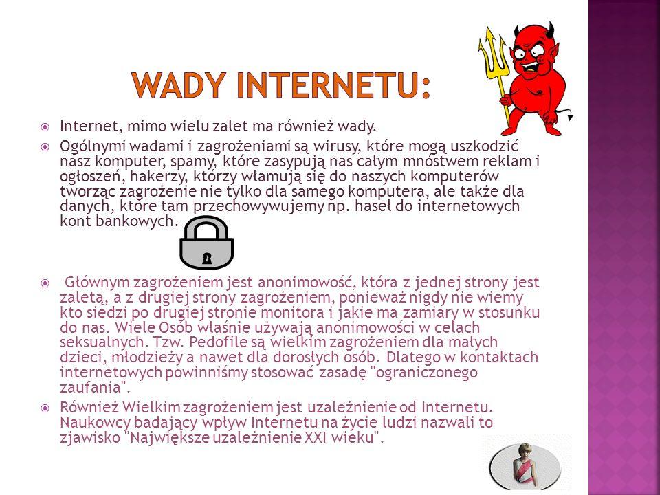 Internet, mimo wielu zalet ma również wady. Ogólnymi wadami i zagrożeniami są wirusy, które mogą uszkodzić nasz komputer, spamy, które zasypują nas ca