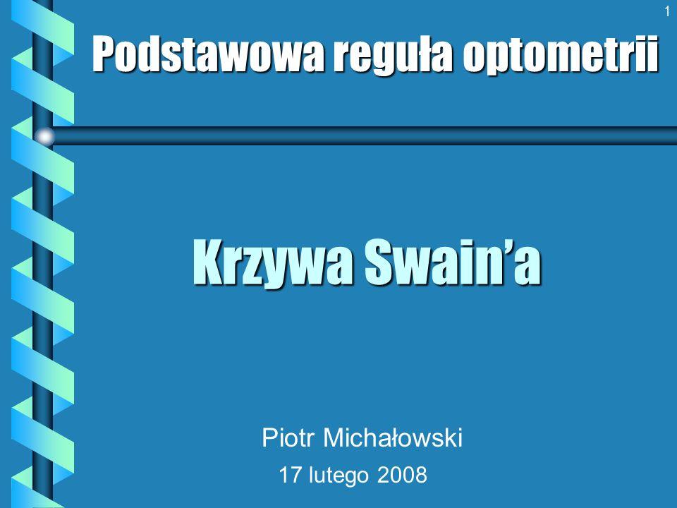 1 Krzywa Swaina Podstawowa reguła optometrii Piotr Michałowski 17 lutego 2008