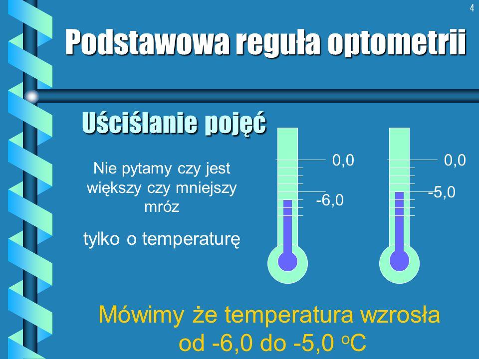 4 Uściślanie pojęć Podstawowa reguła optometrii Mówimy że temperatura wzrosła od -6,0 do -5,0 o C -5,0 0,0 -6,0 0,0 Nie pytamy czy jest większy czy mn