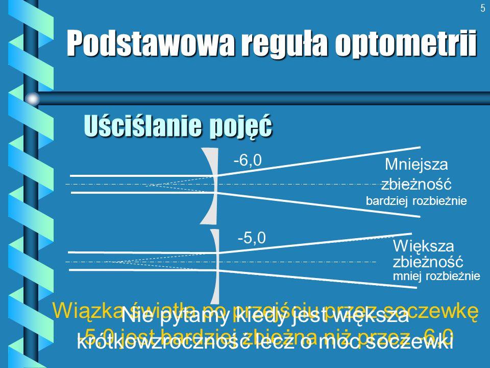 5 Uściślanie pojęć Podstawowa reguła optometrii Wiązka światła po przejściu przez soczewkę -5,0 jest bardziej zbieżna niż przez -6,0 Mniejsza zbieżnoś