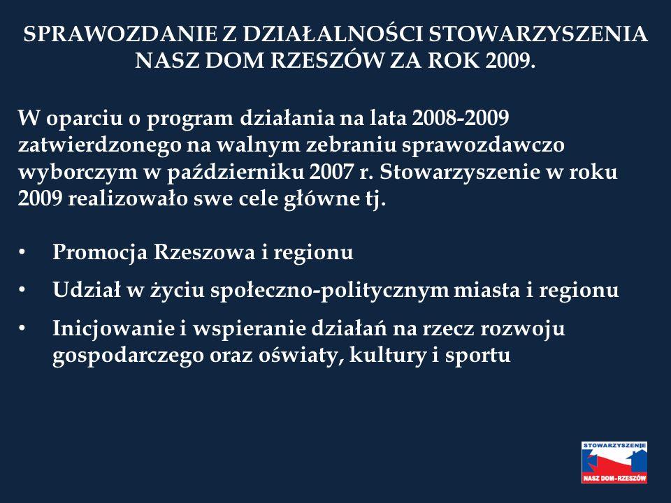 SPRAWOZDANIE Z DZIAŁALNOŚCI STOWARZYSZENIA NASZ DOM RZESZÓW ZA ROK 2009. W oparciu o program działania na lata 2008-2009 zatwierdzonego na walnym zebr