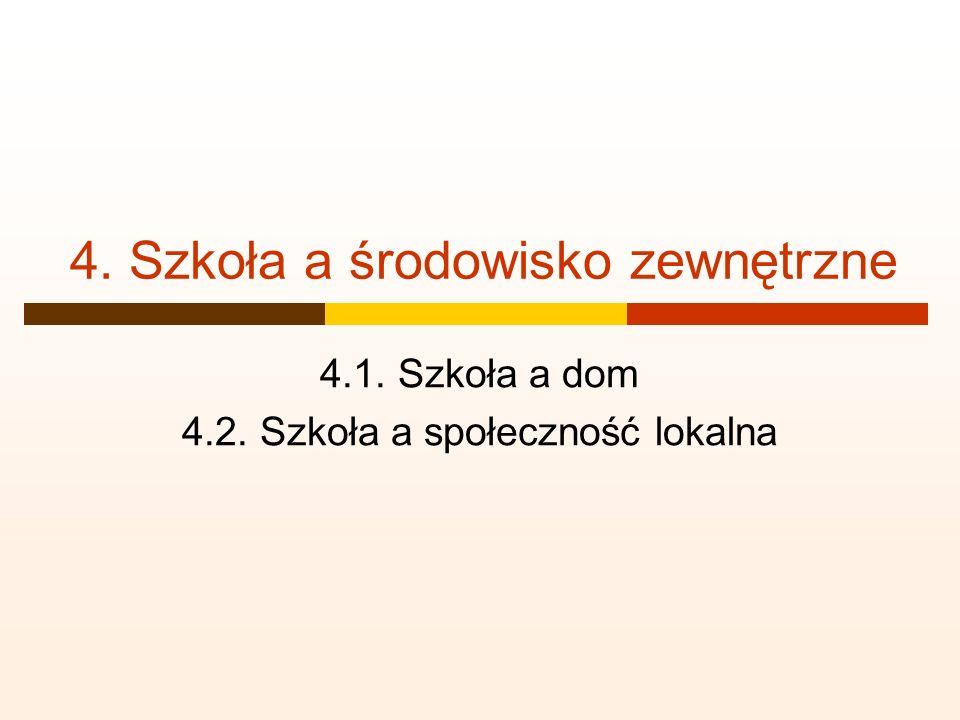 4. Szkoła a środowisko zewnętrzne 4.1. Szkoła a dom 4.2. Szkoła a społeczność lokalna