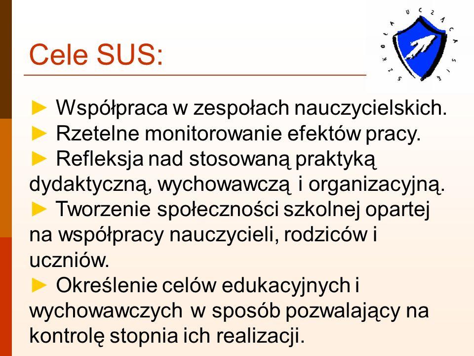 Cele SUS: Współpraca w zespołach nauczycielskich. Rzetelne monitorowanie efektów pracy. Refleksja nad stosowaną praktyką dydaktyczną, wychowawczą i or