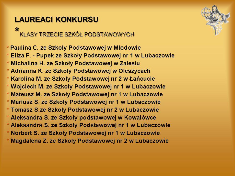 LAUREACI KONKURSU * KLASY TRZECIE SZKÓŁ PODSTAWOWYCH * Paulina C.