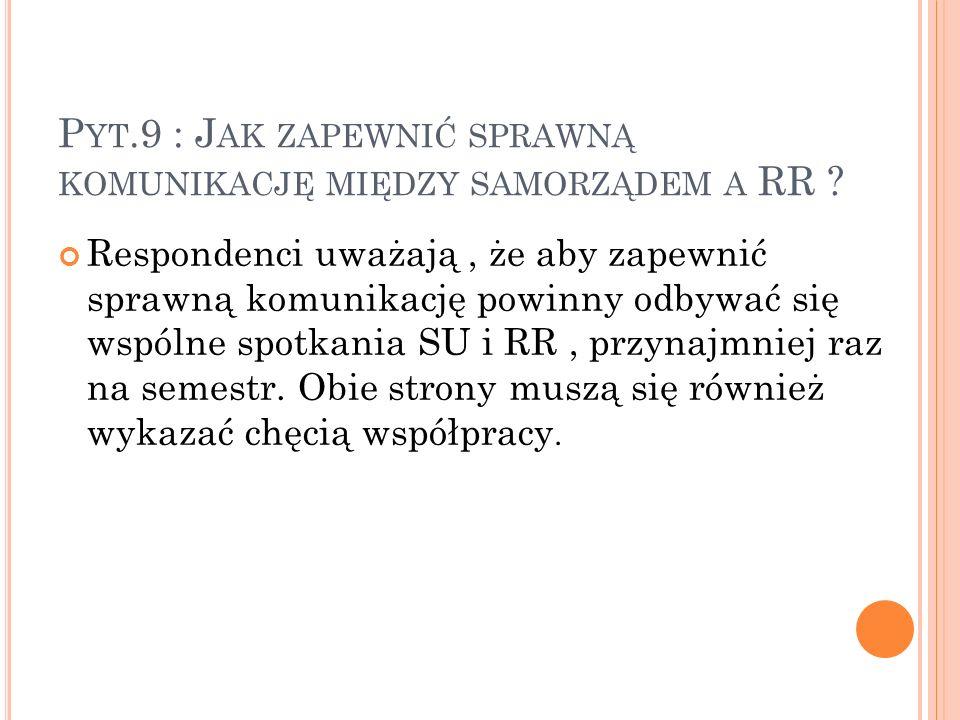 P YT.9 : J AK ZAPEWNIĆ SPRAWNĄ KOMUNIKACJĘ MIĘDZY SAMORZĄDEM A RR .