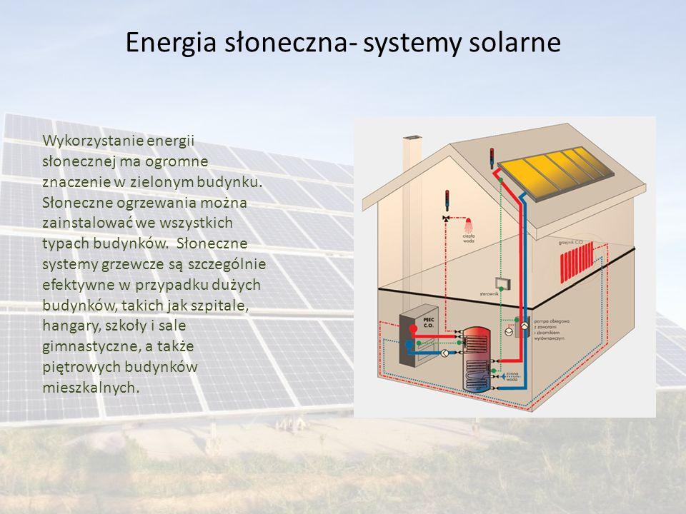 Wykorzystanie energii słonecznej ma ogromne znaczenie w zielonym budynku. Słoneczne ogrzewania można zainstalować we wszystkich typach budynków. Słone